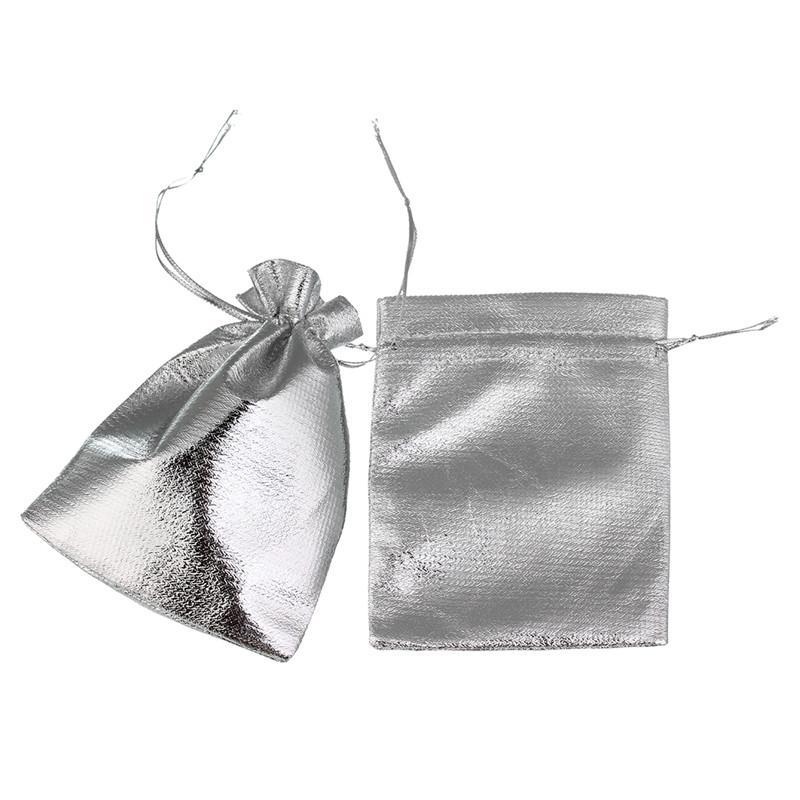 LINSOIR 7x9 / 12x9 cm Tecido de Cetim Organza Cordão Bolsas de Presente de Prata Cor de Ouro Sacos De Armazenamento De Jóias Embalagem F1736