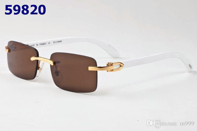 Compre Venta Caliente Gafas De Sol Sin Montura Natural Cuernos De ...
