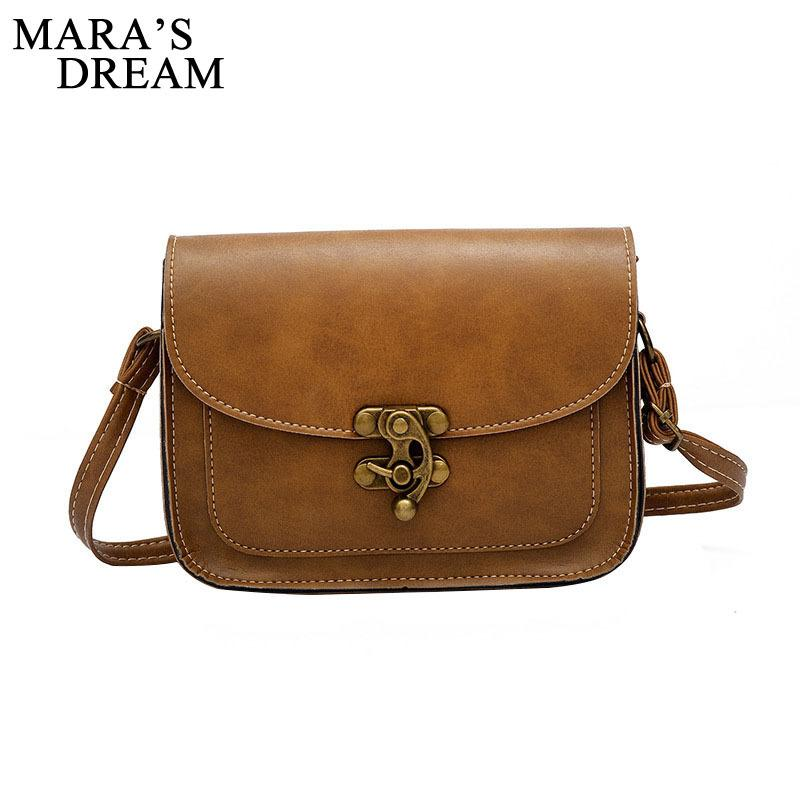 0a832aff7b 2019 Fashion Mara S Dream 2018 Vintage PU Leather Women Bag Fashion Lock Small  Women Messenger Bag Single Strap Shoulder Bag Crossbody Bags Handbags ...