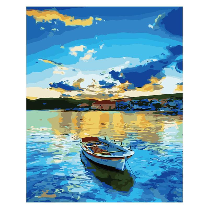 Diy ölgemälde Malen Nach Zahlen Kits Auf Leinwand Mit Acrylfarben Pinsel Für Erwachsene Anfängt Beautiful Lake Painting Für Heimtextilien