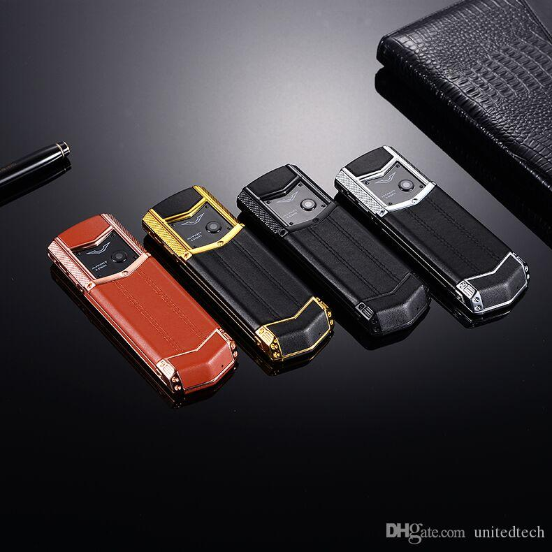 Ursprüngliche Marke MPARTY LT2 Luxus Gold Metall Körper Leder Gehäuse Handy Dual Sim Handys Bluetooth FM Mp3 Kamera Handy