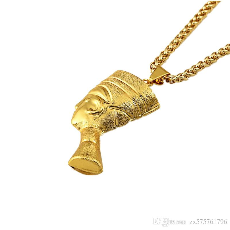Personalized Design Pharaoh Pendant Necklace Hip Hop Men Jewelry Punk Rock Micro 18k Gold Plated Long Chains