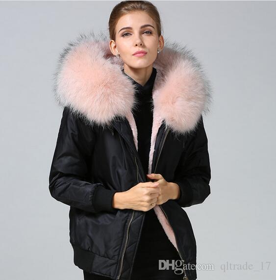 2fd15d198 2019 Meifeng Brand Pink Fur Trim Pink Rabbit Fur Lining Black Bomber  Jackets Women Flight Bomber Jackets Rabbit Fur Nylon Jackets From  Qltrade_17, ...