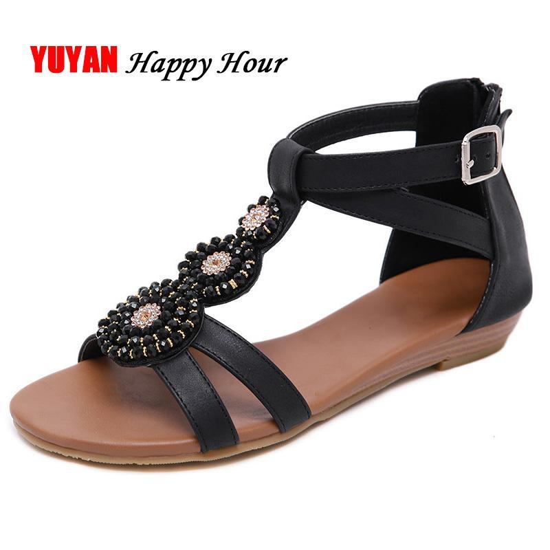 ab7384d9f 2019 Summer Bohemia Sandals Women Beach Shoes Women's Sandals Flat Summer  Shoes Fashion Ladies Rome Plus Size YX491