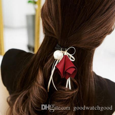 Designer Hair Jewelry Hair Rubber Bands Bowknot Silk Ribbon for ... 3aa95cbec7a