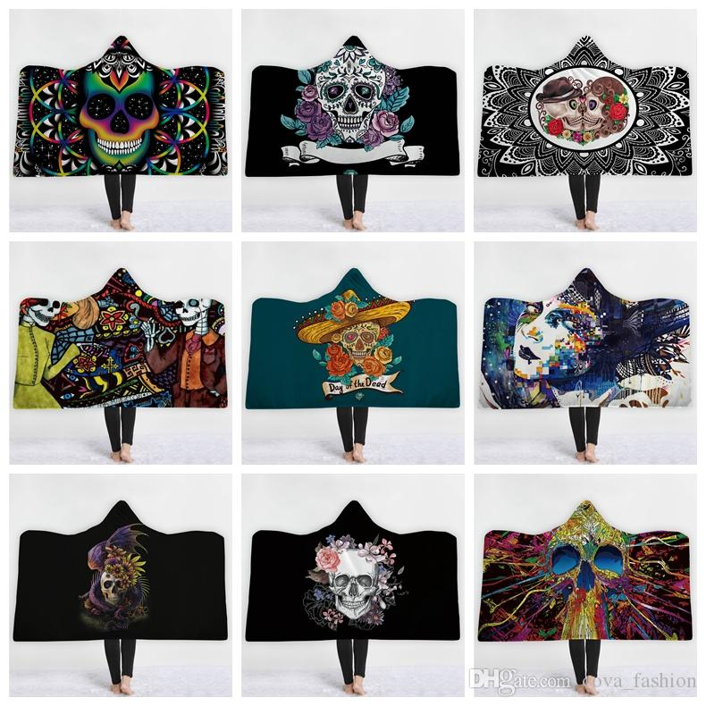 f73b3d0af0 3D Printing Skulls Hooded Blanket Cloak Blanket Double Layer Thick Wrap  Shawl Comfort Blanket With Hat Down Lap Blanket Velour Throw From  Cova fashion