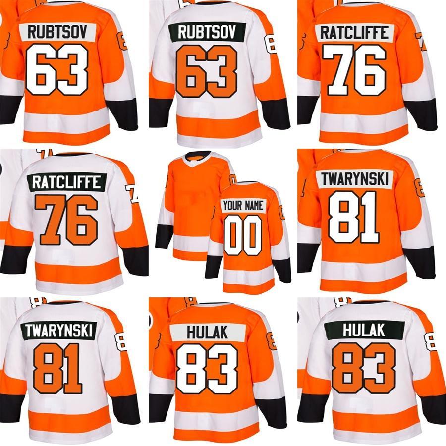 dde89ad42 2018 New Brand Mens Philadelphia Flyers 63 Rubtsov 76 Ratcliffe 81 ...