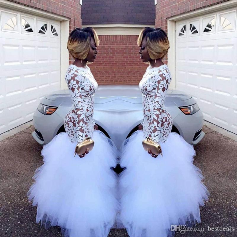 2019 African White Mermaid Lace Prom Dresses for Black Girls Long Sleeves Ruffles Tulle Floor Length Plus Size Evening Prom Gowns Vestidos