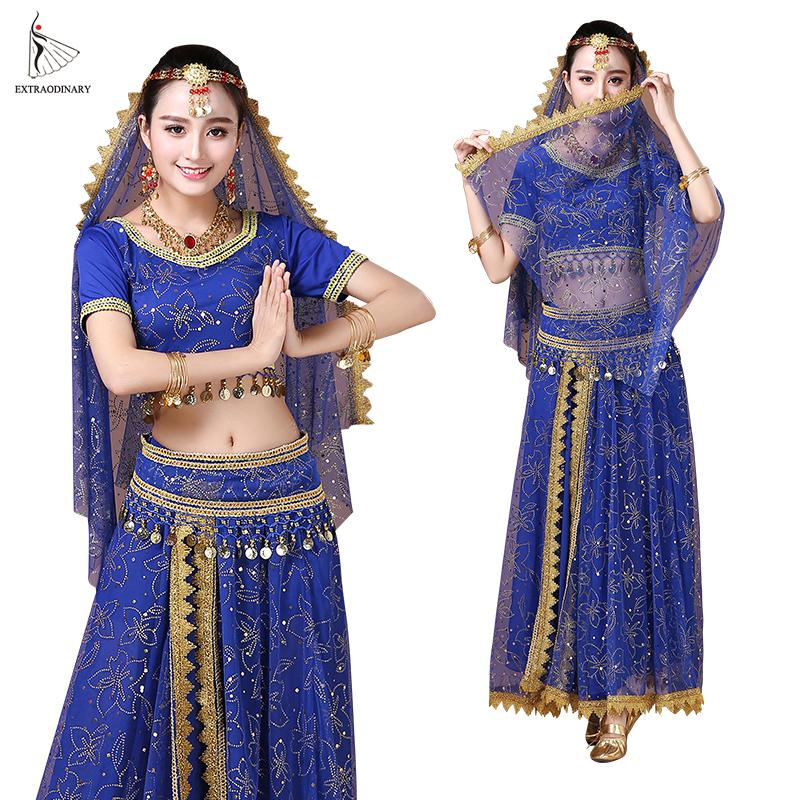 Bollywood Belly Dance Costume Set Indian Dance Sari Bellydance Skirt Suit  Women Chiffon 5pcs (Headpieces Veil Top Belt Skirt)