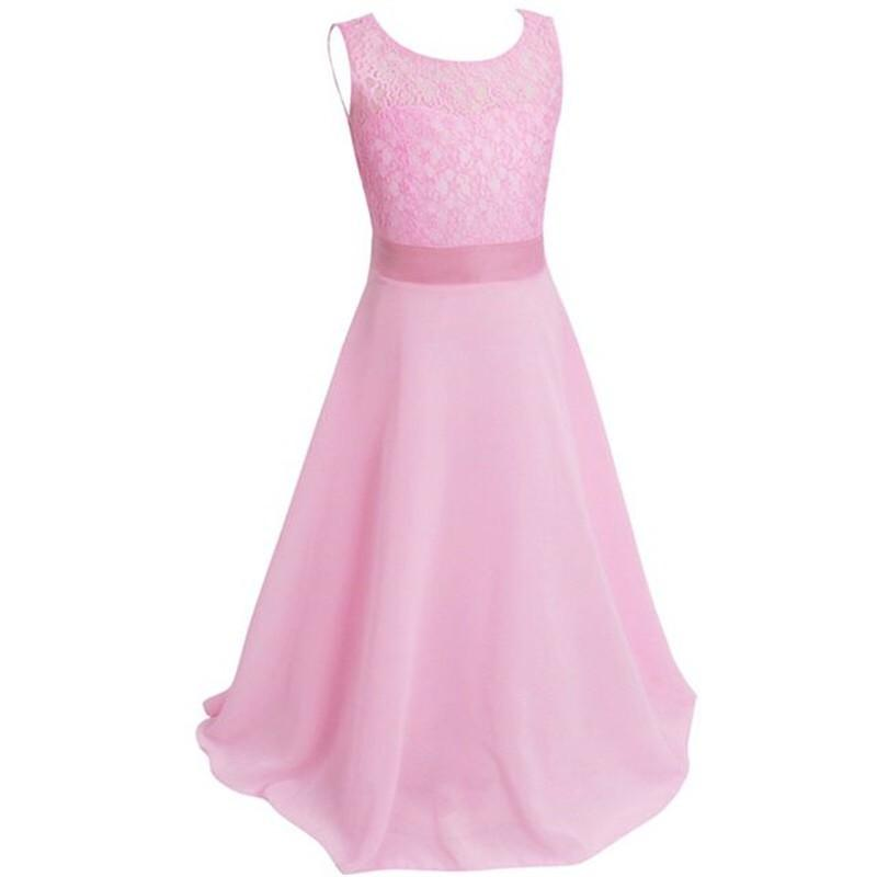 Flower Lace Dress for Party Wedding Bridesmaid Floral Girl Dress Ball Gown Prom Formal Maxi Dress Size 4-14Y