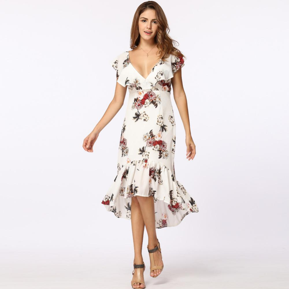 c6edbcfbe1 Deep V Neck Floral Print Sexy Dress Vintage Irregular Sleeveless Beach Summer  Dress 2019 Causal Women Ruffles Dress XL Vestidos Short Long Dress Long  Short ...