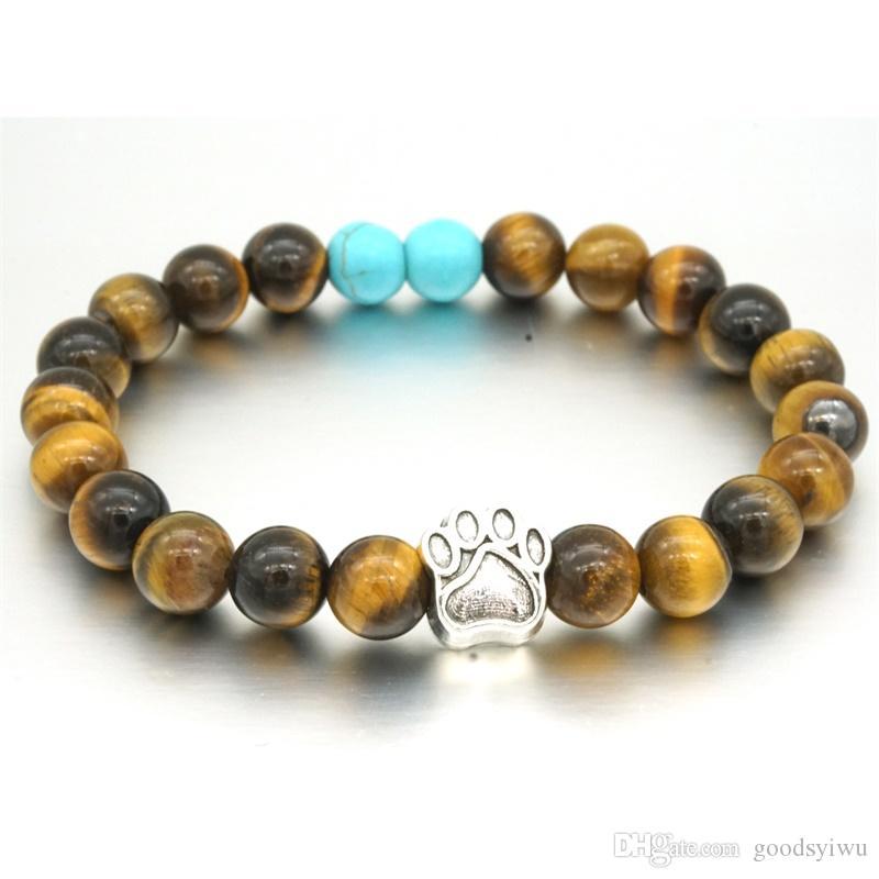 12 Estilos de Pedra Natural Yoga Pulseira Coração Mão Do Cão Da Pata Elástica Corda Olho de Tigre Turquesa Pulseira Talão Moda Homens Mulheres Jóias