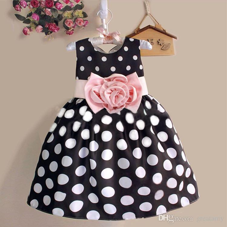 Fashion Children Baby Kids Girls 3-8 Age Casual Dot Sleeveless Dress kids big flower Skirts Outfits Dress 3 colors