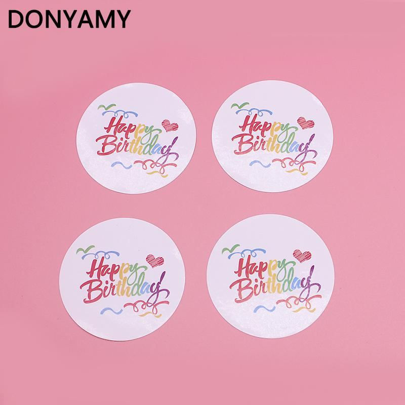 2019 Multicolor Happy Birthday 45cm Round For Pary Gift Sticker Seal Baking Package Paper Tags Labels From Griffith 209