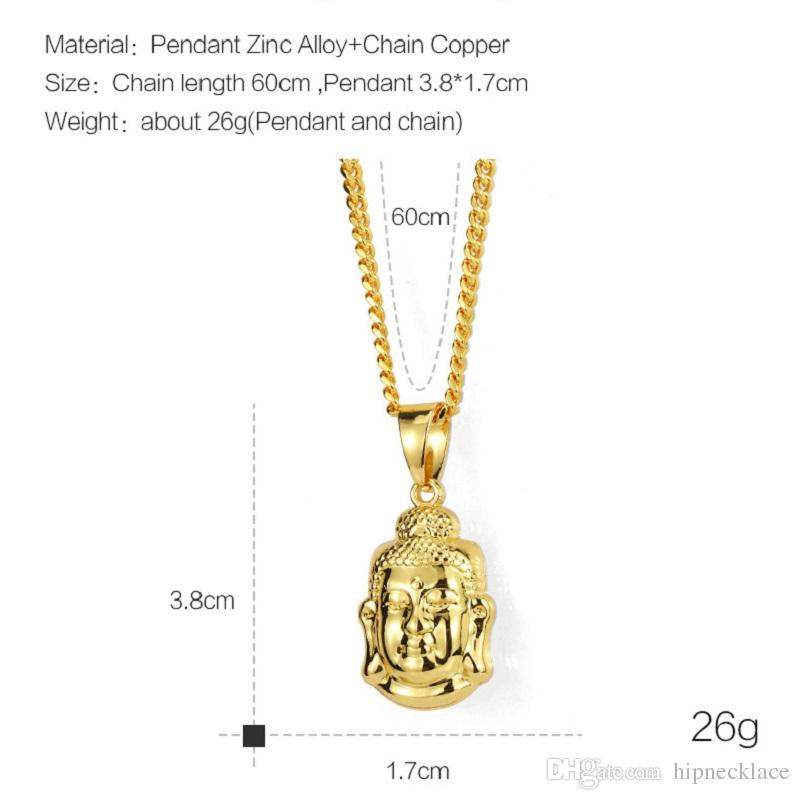Fashion Mens Silver Color Small Buddha Necklace 60cm Long Chain Rock Micro Hip Hop Men Jewelry Ice Out Pendant Necklace For Mens