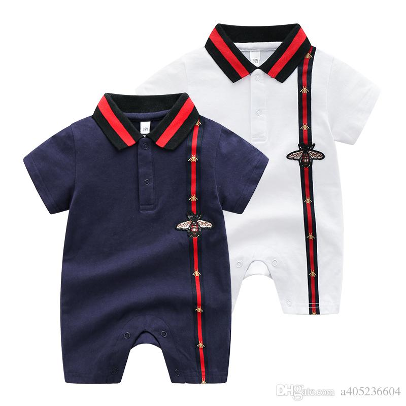 d49b31d997f 2019 High Quality Summer Short Sleeve Cotton Baby Boys Jumpsuit Stripe  Letter Embroidery Infant Romper Cuter Classical Newborn Bodysuit With Prin  From ...
