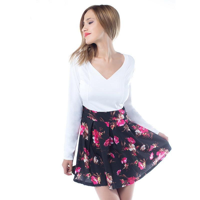3d181c5d4013b 2018 Summer Dresses Floral Print Casual Stylish Elegant Charming Women  Patchwork V Neck Long Sleeve Short Dress Leisure Sexy Chiffon Dress Women  In Dress ...