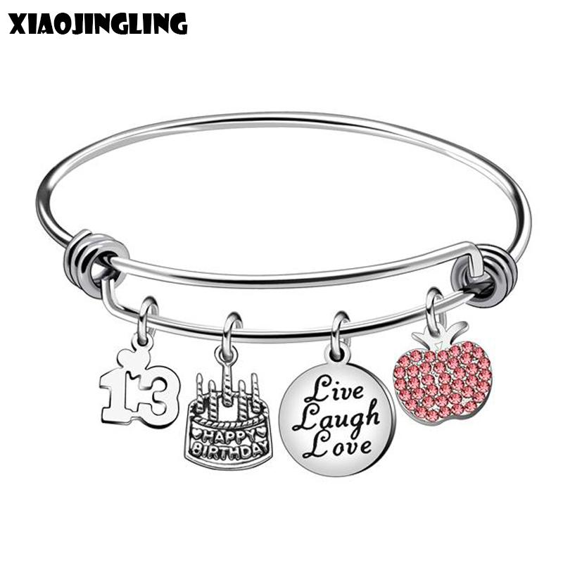 XIAOJINGLING 13 Years Old Birthday Gifts Cake Pendant Bracelets Bangles Pink Crystal For Daughter Niece Family Gift White Gold