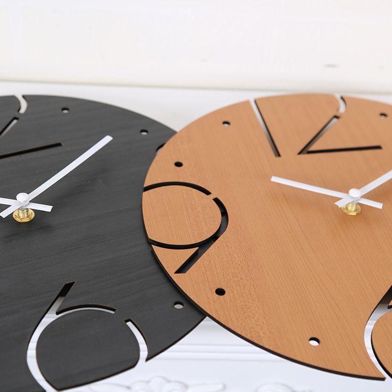 Wooden Wall Clock Simple Modern Design Digital Quartz Wood Clocks