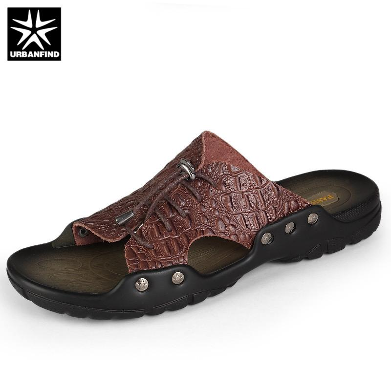 63f398321 Wholesale Indoor Outside Slippers Men Home Beach Sandals Size 37-44  Crocodile Leather Man Slip-on Slides Casual Summer Shoes Online with  $78.65/Pair on ...