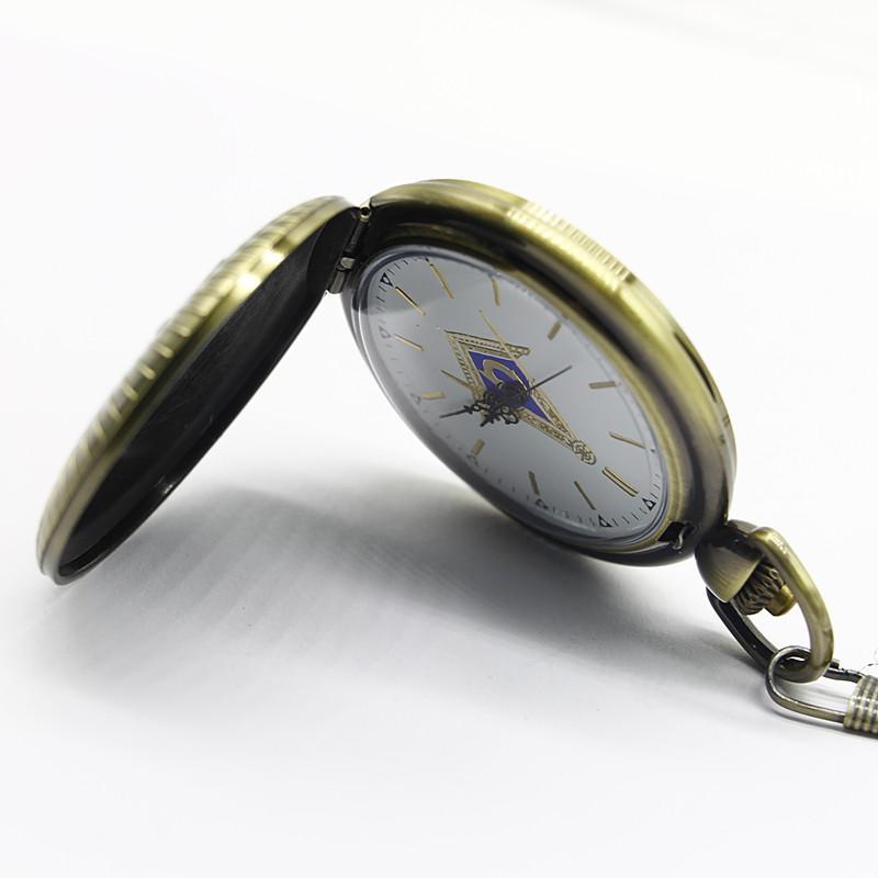 New Arrival 5.5cm Masonic Freemasonry Theme Coloful Dial Quartz Pocket Watch Pendant Necklace Fob Watch Mens Womens Gift