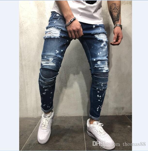 990eca9f8cdb 2019 Skinny Denim Jean Hip Hop Men Splashing Ink Slim Knee Pleated Ripped Biker  Jeans Fashion Distressed Motorcycle Denim Pants From Thomas88