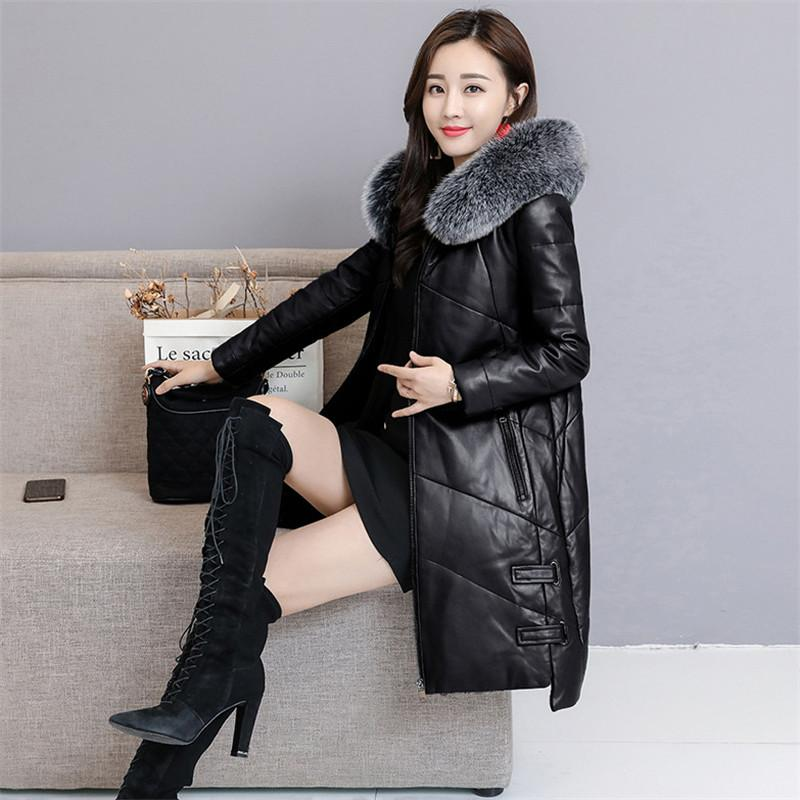 29be9970fa9a2 Women PU Leather Jacket Winter Down Cotton Coat 2018 Plus Size 4XL Fashion  Overcoat Female Fox Fur Collar Slim Parkas Lady Tops Leather   Suede Cheap  ...