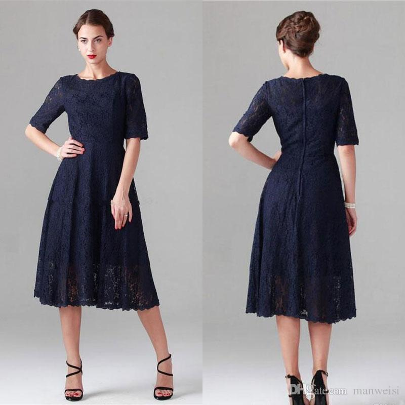 ed175fba65 Elegant Dark Navy Mother Of The Bride Dresses Tea Length Full Lace Short  Half Sleeves Cocktail Party Gowns Plus Size Wedding Guest Dress Casual  Mother Of ...