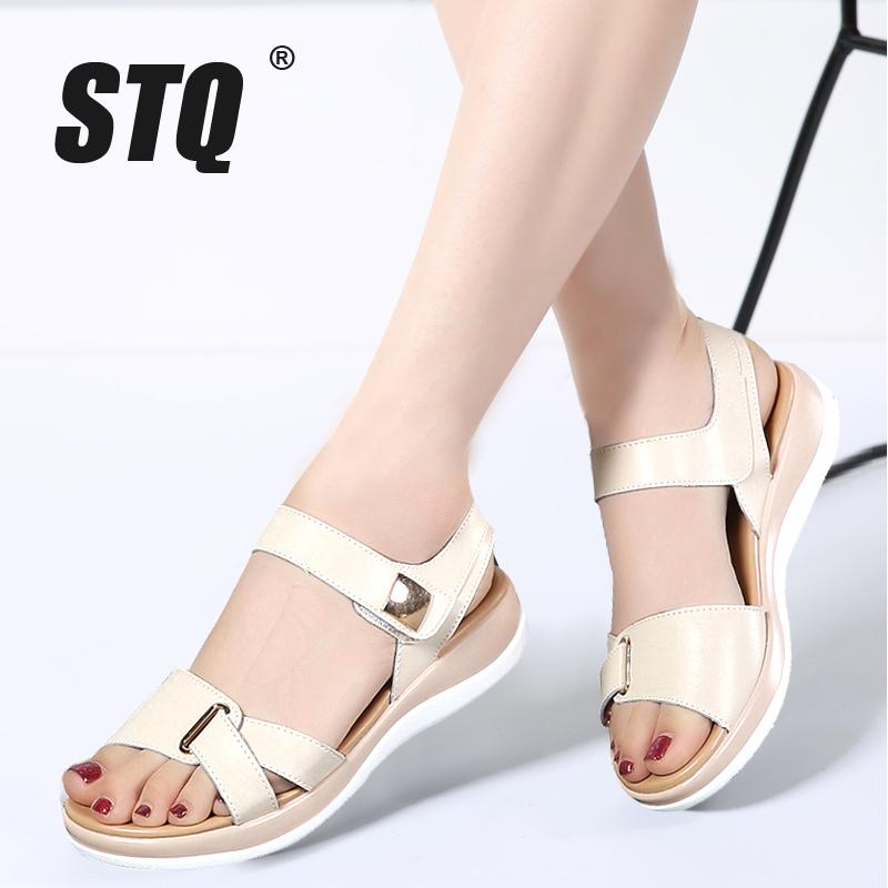 STQ 2017 Women Sandals Summer Genuine Leather Flat Sandals Ankle Strap  Platform Ladies Sexy White Wedge 77351 Strappy Sandals Skechers Sandals  From Yera