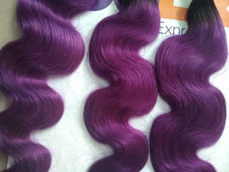 Brésilien Ombre Extensions de Cheveux Humains # 1B Violet Foncé Racines Deux Tons Cheveux Tisse Vague de Corps Ondulés Vierge Cheveux Trames 3 Bundles