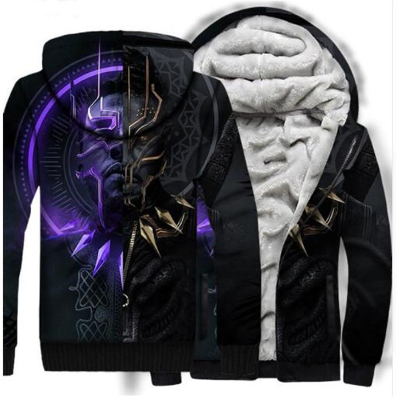 f393d6003504 2019 DropShipping Movie Black Panther 3D Hoodie Print Autumn Winter Zipper  Hip Hop Thicken Sweatshirts Fashion Flannel Coat US Sizr From Yujiu