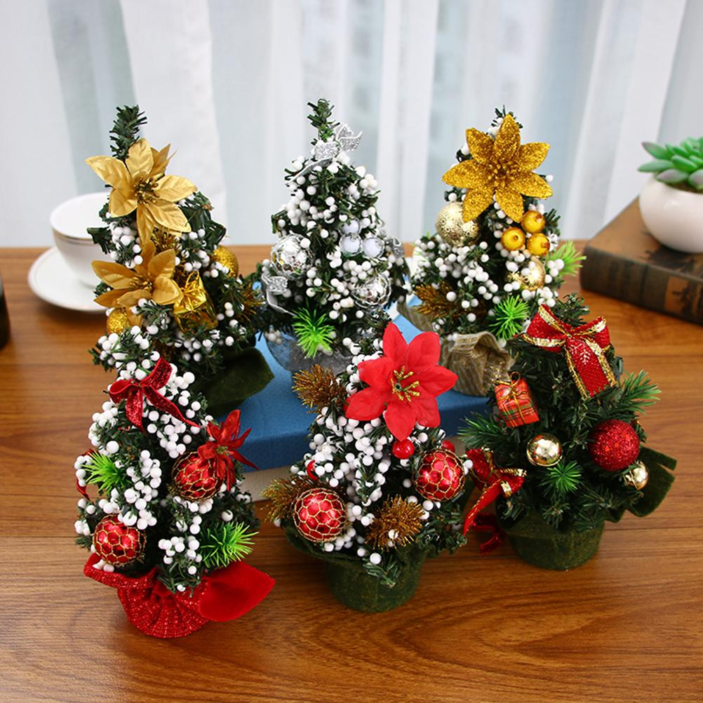 Mini Christmas Tree Ornaments.20cm Mini Christmas Tree Ornaments Festival Party Xmas Decoration For Home Party Decor Table Desk Display