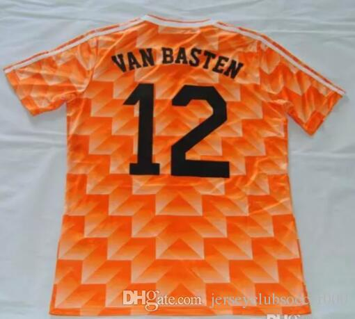 05f4eaade35 2019 1988 European Cup Classic Vintage Netherlands Home Soccer Jersey 12  VAN BASTEN 10 Gullit 8 Bergkamp Seedorf Holland Football Shirt From ...