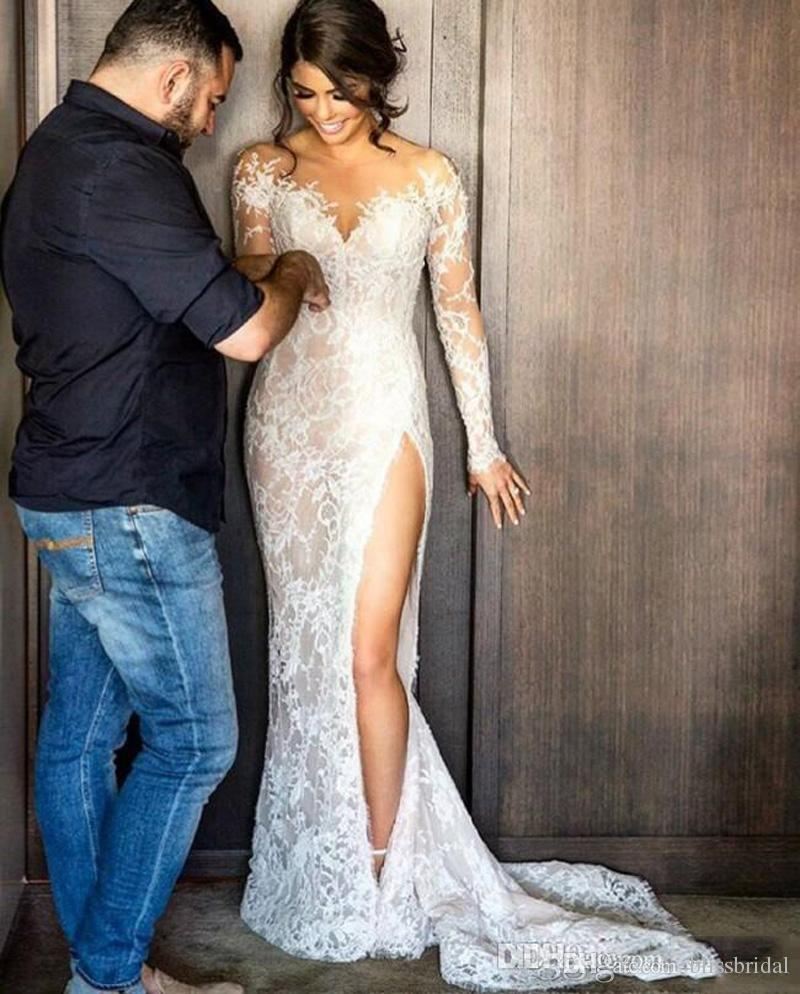 New Split Lace Steven Khalil Wedding Dresses With Detachable Skirt Sheer Neck Long Sleeves Sheath High Slit Overskirts Bridal Gown 2018