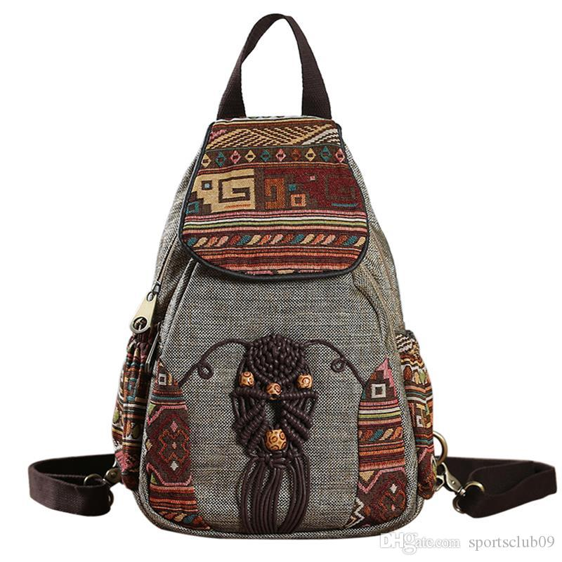 aac659e191 Women Backpack Female Vintage Handmade Backpacks For Girls Mini Backpack  National Style Geometrical Printed Canvas Bagpack Wholesale Handbags Cheap  Handbags ...