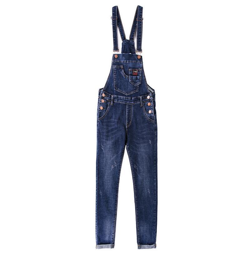 2110f60644d 2019 2018 New Spring Denim Jumpsuits Women Vaqueros Romper Long Pants Jeans  Overalls Suspender Female Slim Nine Pants P101 From Florence33