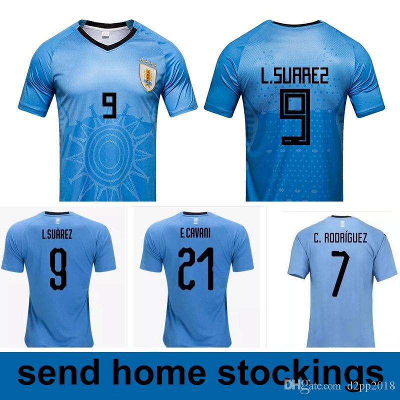2019 World Cup Luis Suarez Uruguay Jersey 2018 3 Diego Godin 21 Edinson  Cavani Uruguay 7 Rodríguez 2018 Home Soccer Jersey Blue From D2pp2018 d0f5a0574