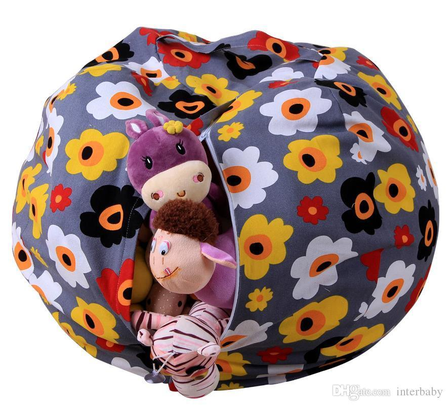 Stuffed Animal Storage Beanbag Kids Toy Storage Bean Bag Chair Couch Child Plush Toy Clothes Organizer Kids Bedroom Play Mat 43 Design LDH20