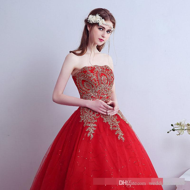 luxury wedding dress 2018 Vintage Lace Red Wedding Dresses Long Train Plus Size Ball Gown Robe de Mariee pincess