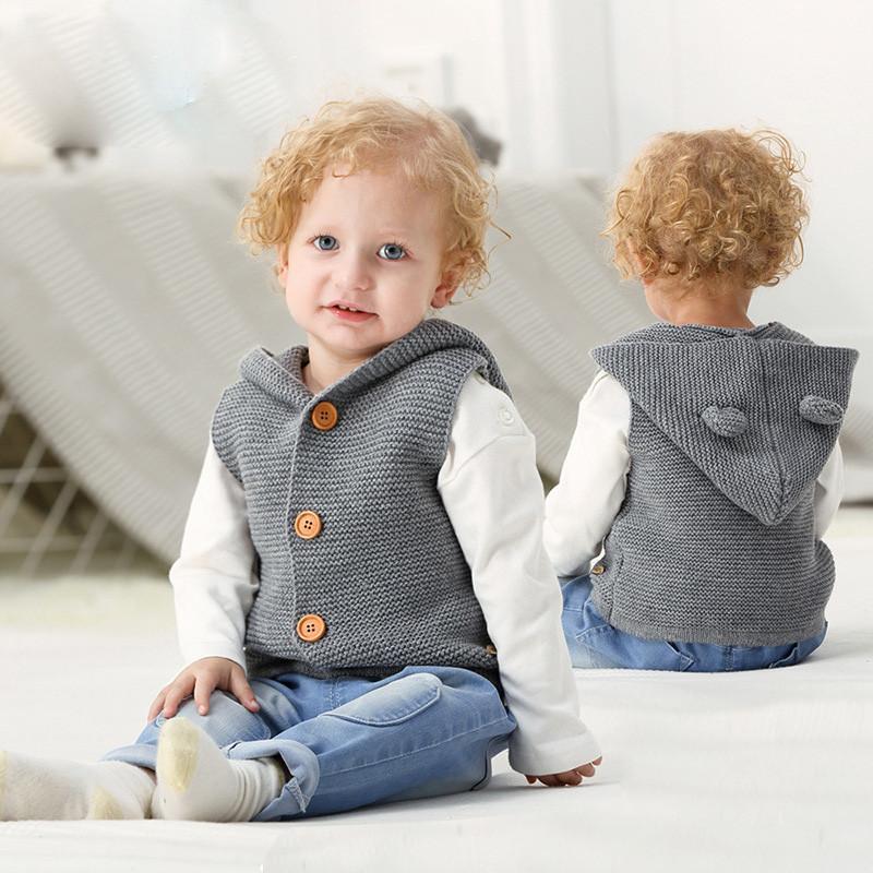 3d29502ef Cute Baby Woolen Jacket Solid European Style Hooded Sweater Jacket ...