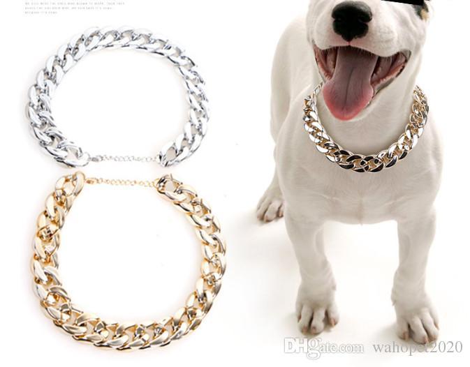 Envío gratis perro collar collar de plata dorada 20 MM de ancho perro de toro collar 20 unids / lote