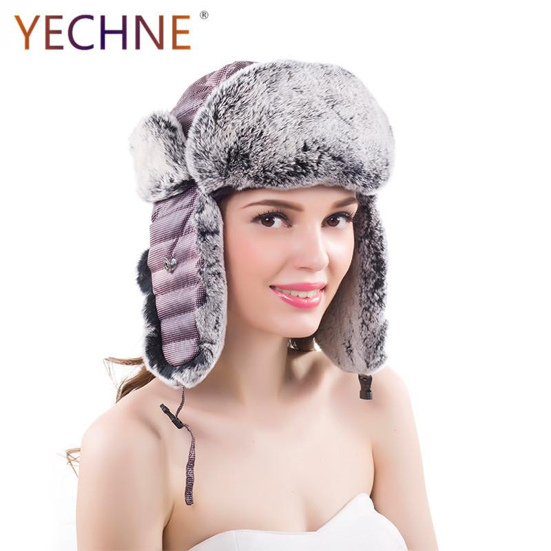 90bc3c0272d 100% Real Rex Rabbit Fur Hats Women S Winter Bomber Hats Russian Ushanka  Skiing Rex Rabbit Fur Hat Earflap Bomber UK 2019 From Haroln