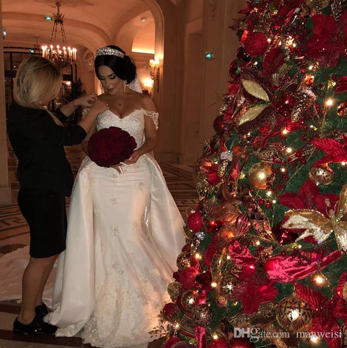 Elegante Perlen Spitze Brautkleider Meerjungfrau Brautkleider mit abnehmbarer Zug aus Schulter Applikation Elfenbein Satin Braut Kleid