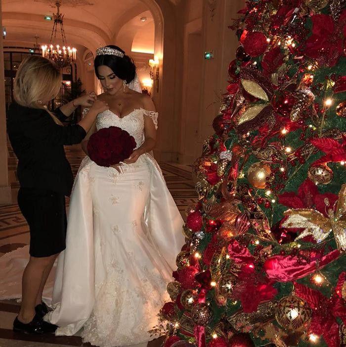 Élégant robes de mariée en dentelle perlée Sirène Robes de mariée avec un train détachable à l'épaule Applique d'épaule Robe de mariée en satin ivoire