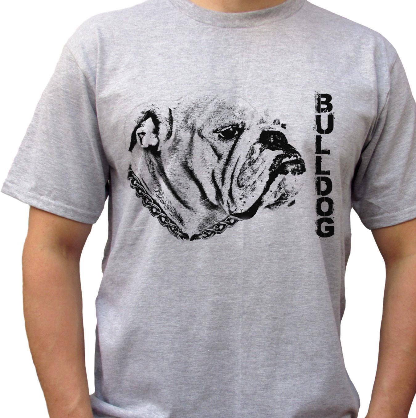 Compre Bulldog Camiseta Cinza Top Inglês Bulldog Tee Dog Design Mens