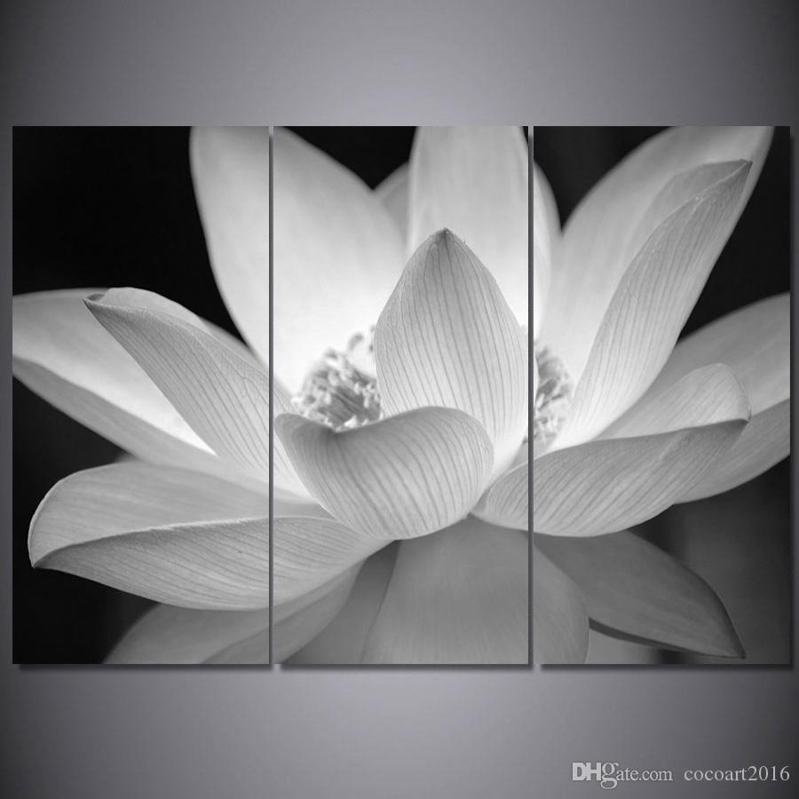 2018 3 Panel Flowers Painting Lotus Painting Canvas Painting Wall
