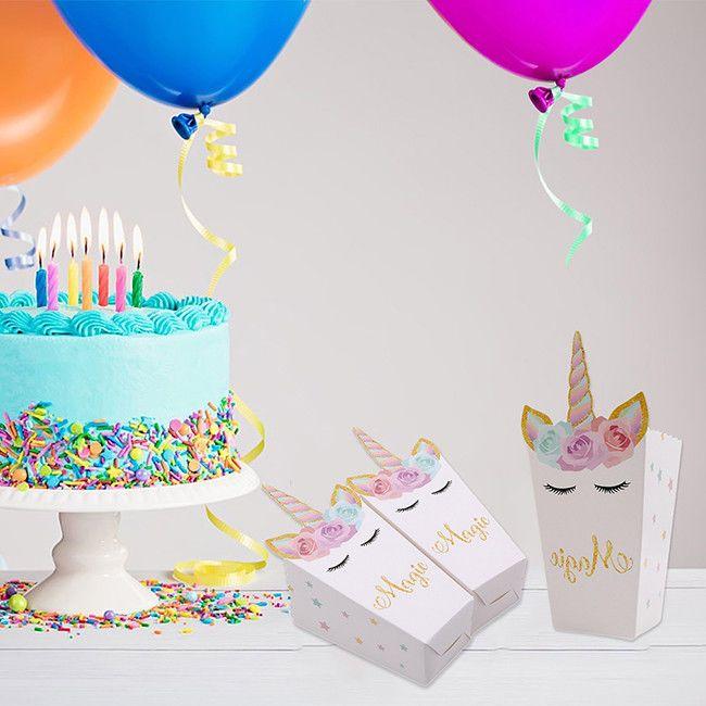 2019 Unicorn Party Popcorn Boxes DIY Decor Theme Bags Birthday Decoration Favors Supplies FFA1053 From Liangjingjing No1