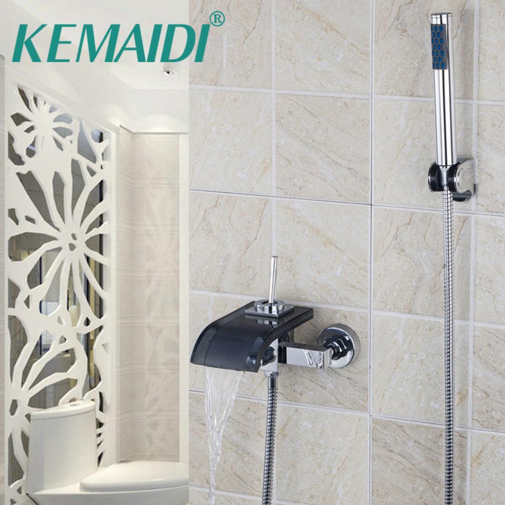 2018 Kemaidi Wall Mounted Bathroom Waterfall Spout Shower Set Bath ...