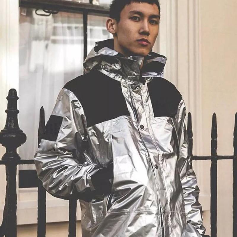 2ce4eff16f4 18ss Metallic Mountain Parka Box Logo Jacket Men Women Hooded Coat Casual  Loose Streetwear Windbreaker Outwear THREE COLOR HFLSJK091 Mens Coat Blue  Jacket ...