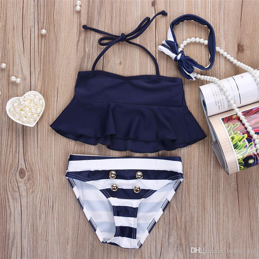 Summer Baby Girls Striped Navy Swimwear with Headband Three-piece a set Kids Swimsuits Bikini Bandage Swimsuit Bathing Suit Beach Wear